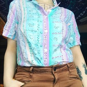vintage Alfred Dunner pastel abstract button up